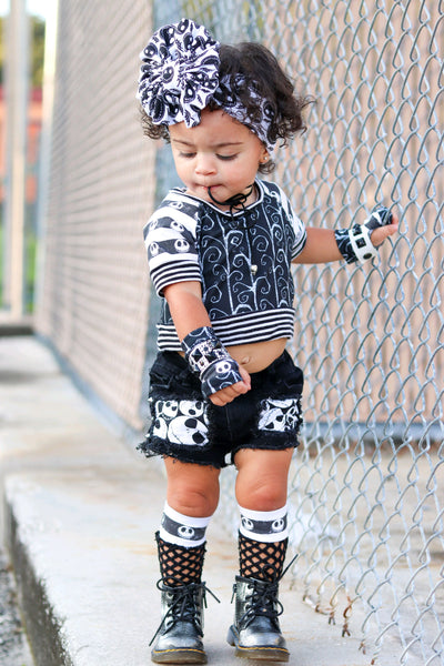 Jack Skull Stripes Mesh Knee High Socks Baby Toddler Girl