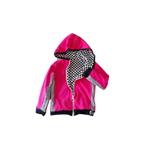 Checkerboard Hooded Racing Jacket Unisex Girls Boys