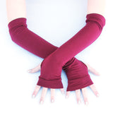 Basic Solid Color Arm Warmers Long Fingerless Gloves