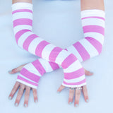 Pink Stripes Arm Warmers Fingerless Gloves