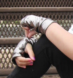 Wild Cat Black Fingerless Vegan Leather Gloves