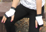 Black and White Fingerless Vegan Leather Gloves Monochrome