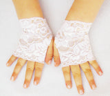 Girls Tiny White Lace Fingerless Gloves