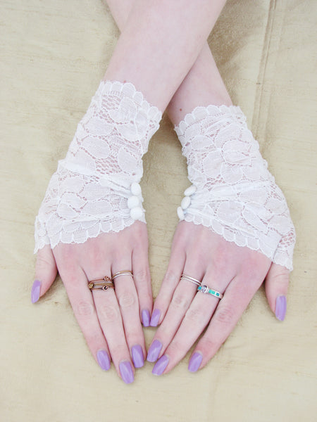 Black Pearl Lace Fingerless Gloves