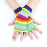 Rainbow Stripes Fingerless Gloves Pride Plus Size Adult Child