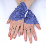 Victorian Lace Fingerless Gloves with Pearls in Cusom Colors and Sizes