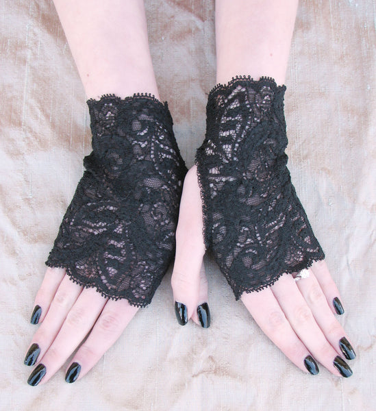 Basic Black Lace Fingerless Gloves for Girls and Women