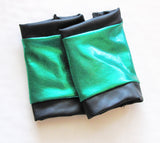 Green Rockstar GLOVES Vegan Leather Fingerless Gloves