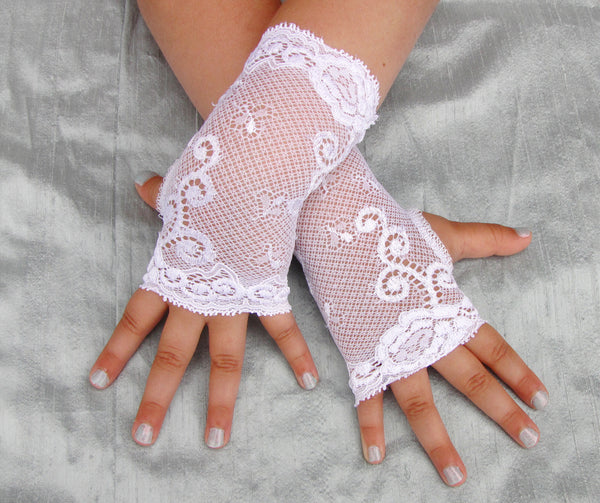 Girl's White Lace Fingerless Gloves Wedding Costume Pageant