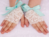 Big Bows Lace fingerless gloves for Easter, Weddings, Dances
