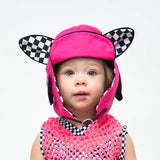 Animal Ear Pilot Hat with Checkers Caps Fox Bunny Kitty