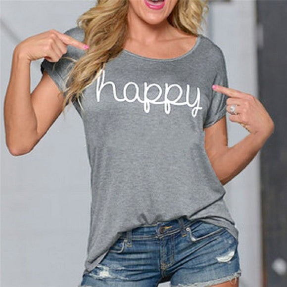 Short Sleeve Casual T-Shirt 'happy' Letter Print