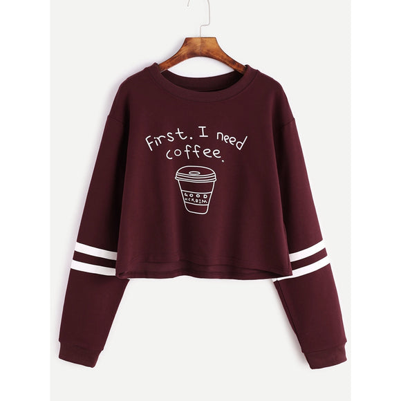 First I Need Coffee Cropped Sweatshirt Jumper