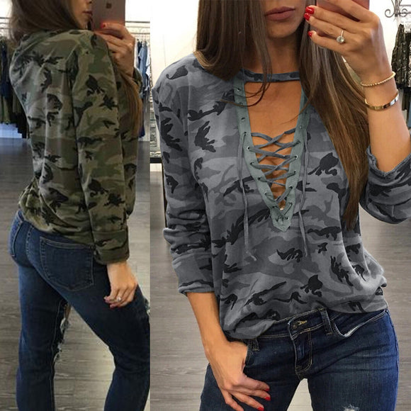 Camo Queen Lace up Top
