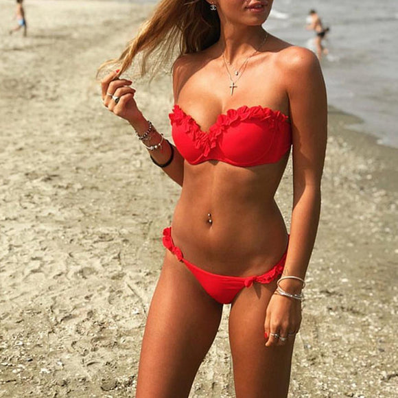'Red Beach' Bikini Set