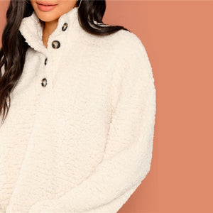 'Sofia' White High Neck Pullover with big Buttons