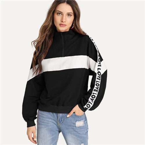 'Love' Black & White Zip up Pullover