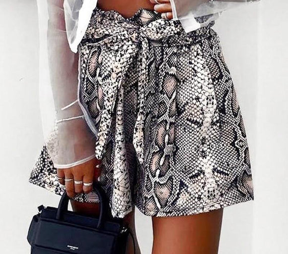 'Snake Eyes' Sash High Waist Shorts with Bow Tie