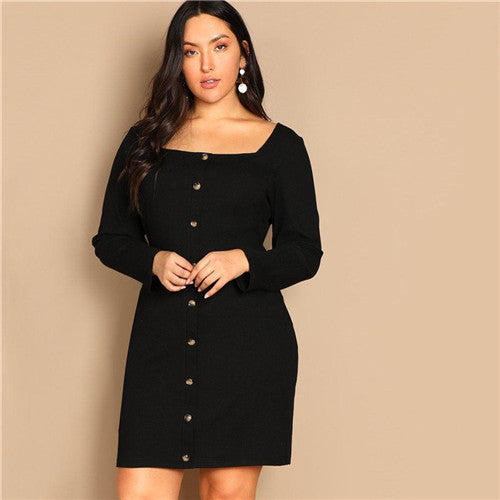'Camisra' Black Buttoned Long Sleeve Casual Plus Size Short Dress