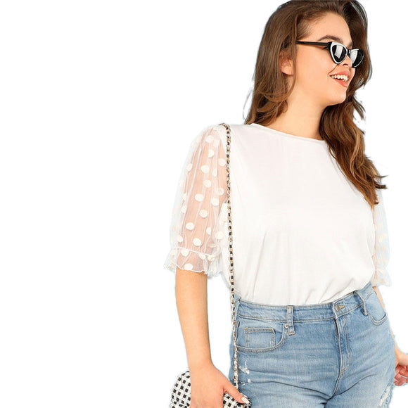 'White Polka 'Mesh Sleeve Top