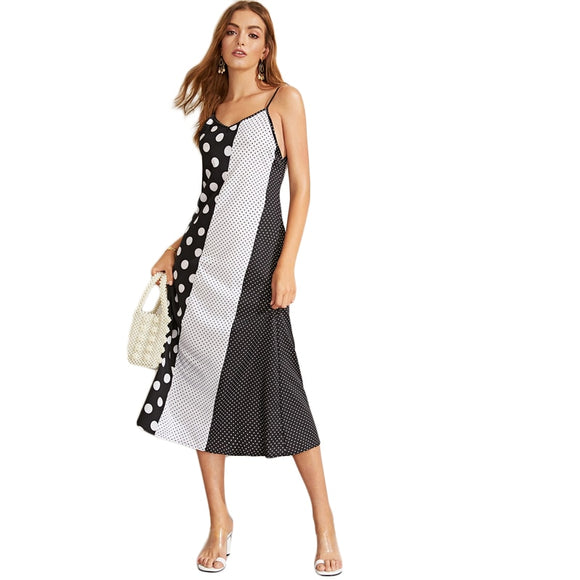 'Alice' Black and White Polka Dot Maxi Dresses