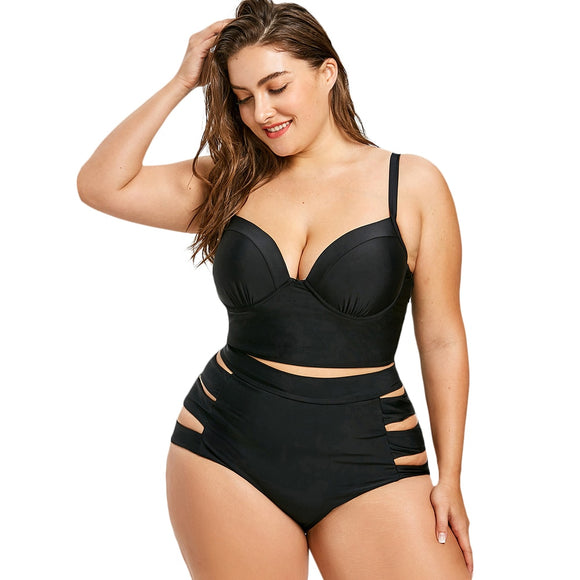 'Ziiva' Sexy Cutout Plus Size Push Up Longline Bikini