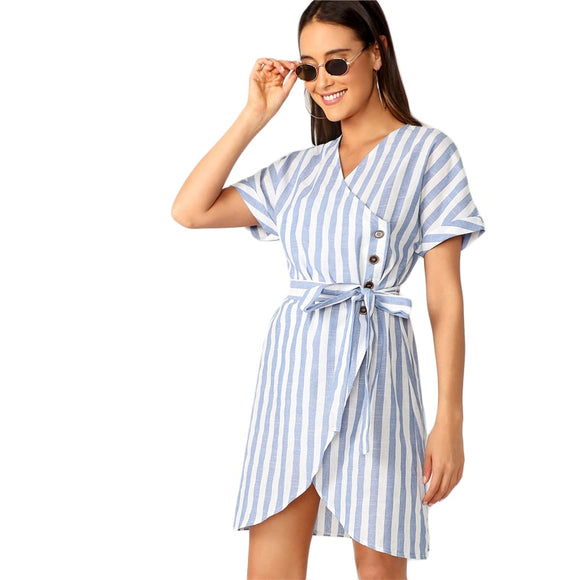 'Bianca Blue'  Buttoned Wrap Belted Stripe Dress