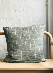 Linen Pillowcase, 50 x 50, Green / Grey Checks