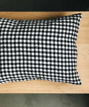 Linen Pillow Case, 30 x 40, Black Gingham