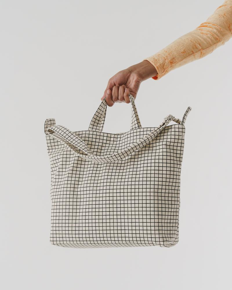 Horizontal Duck Bag, Natural Grid