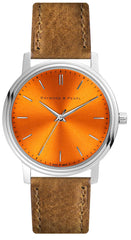 Sunrise Orange - Brown Leather