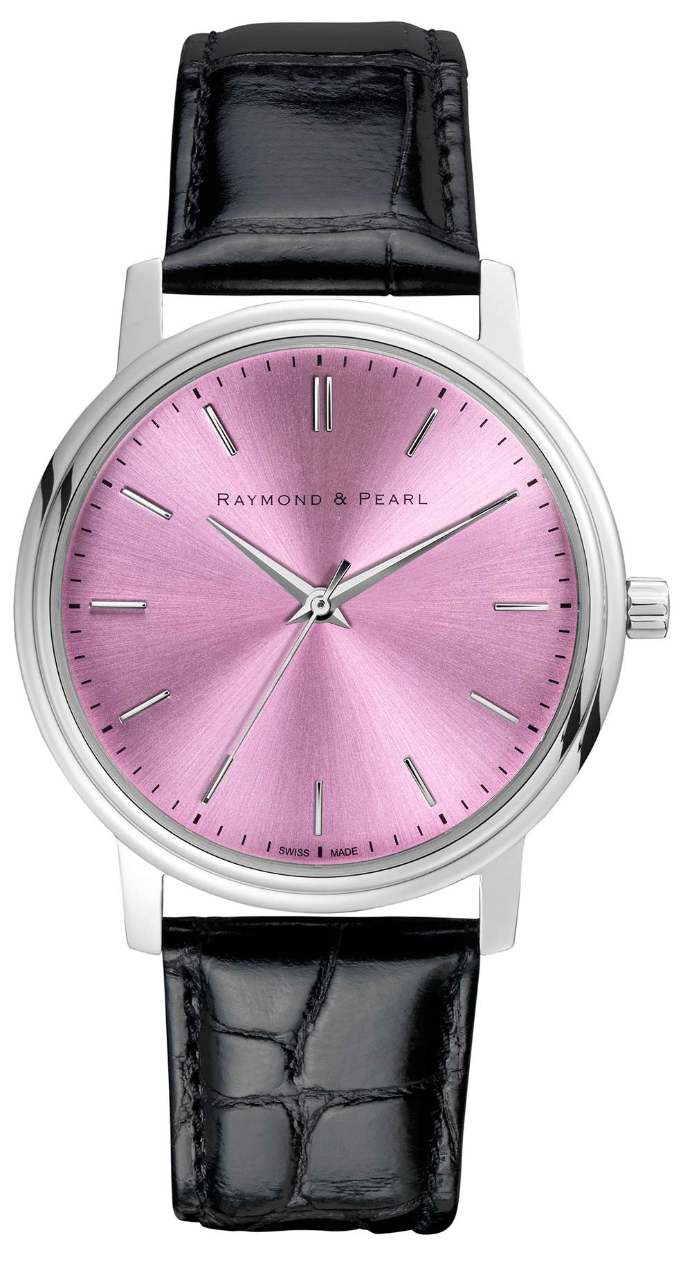 raymond and pearl pink swiss watch