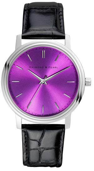 raymond and pearl purple swiss watch
