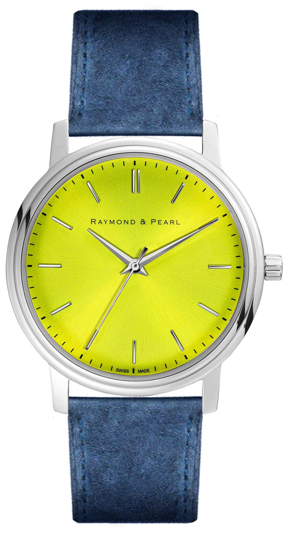 raymond and pearl swiss made yellow blue suede