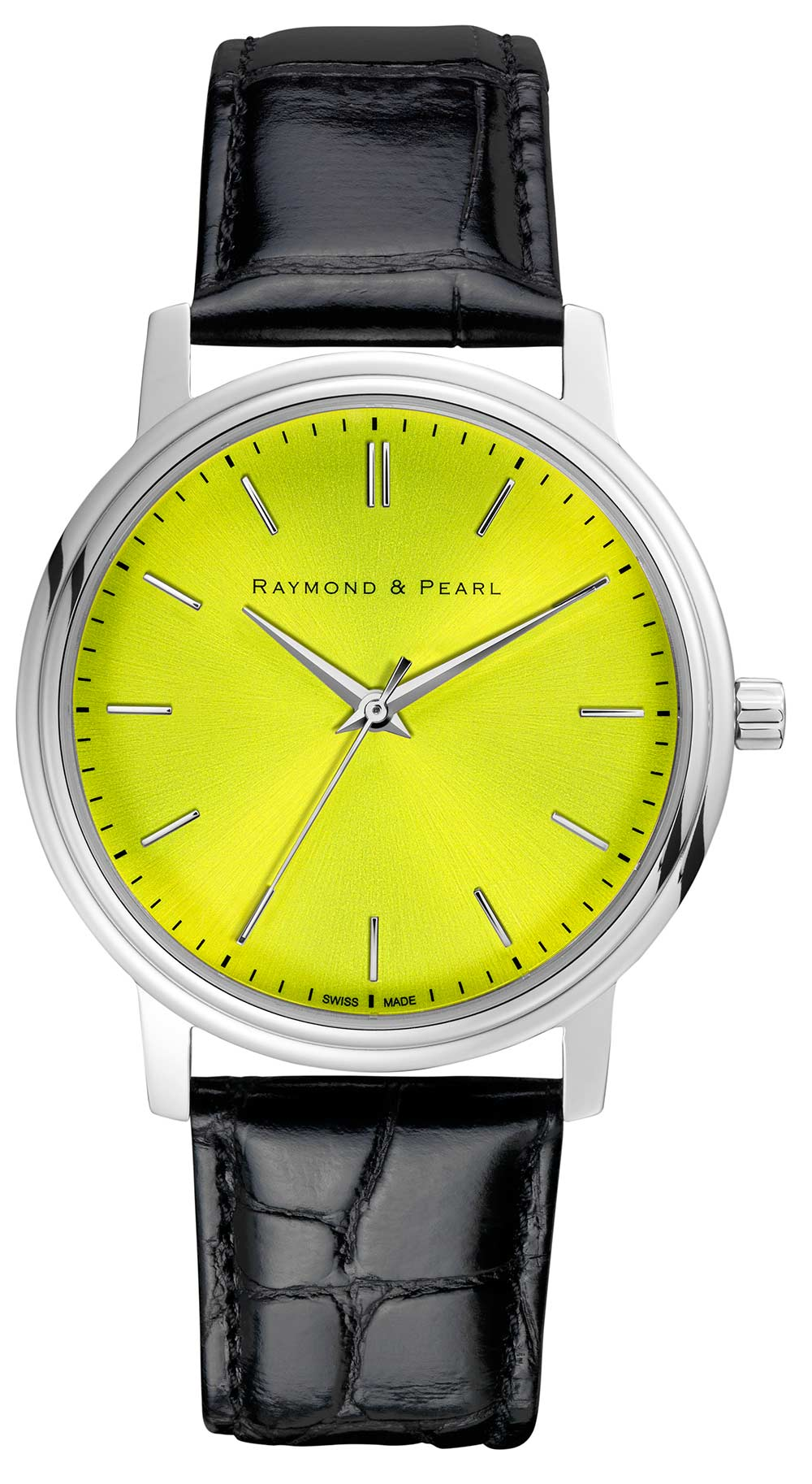 raymond and pearl yellow swiss watch