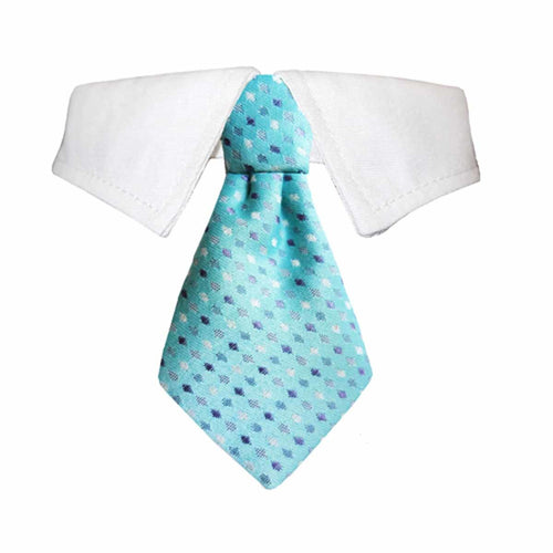 Adrian Dog Shirt Collar and Tie - Blue