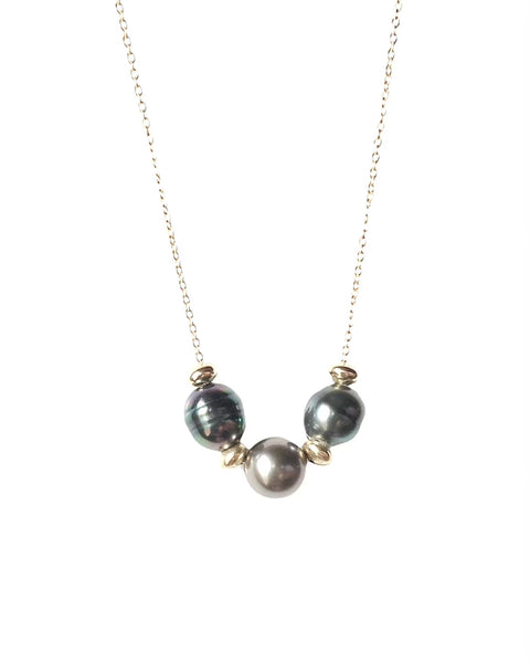Triple Tahitian Pearl Floater Necklace