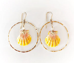 Sunrise Shell Hoop Earrings