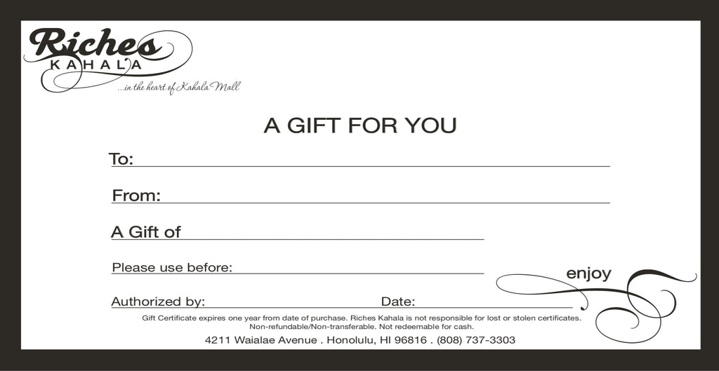 Riches Kahala Gift Certificate