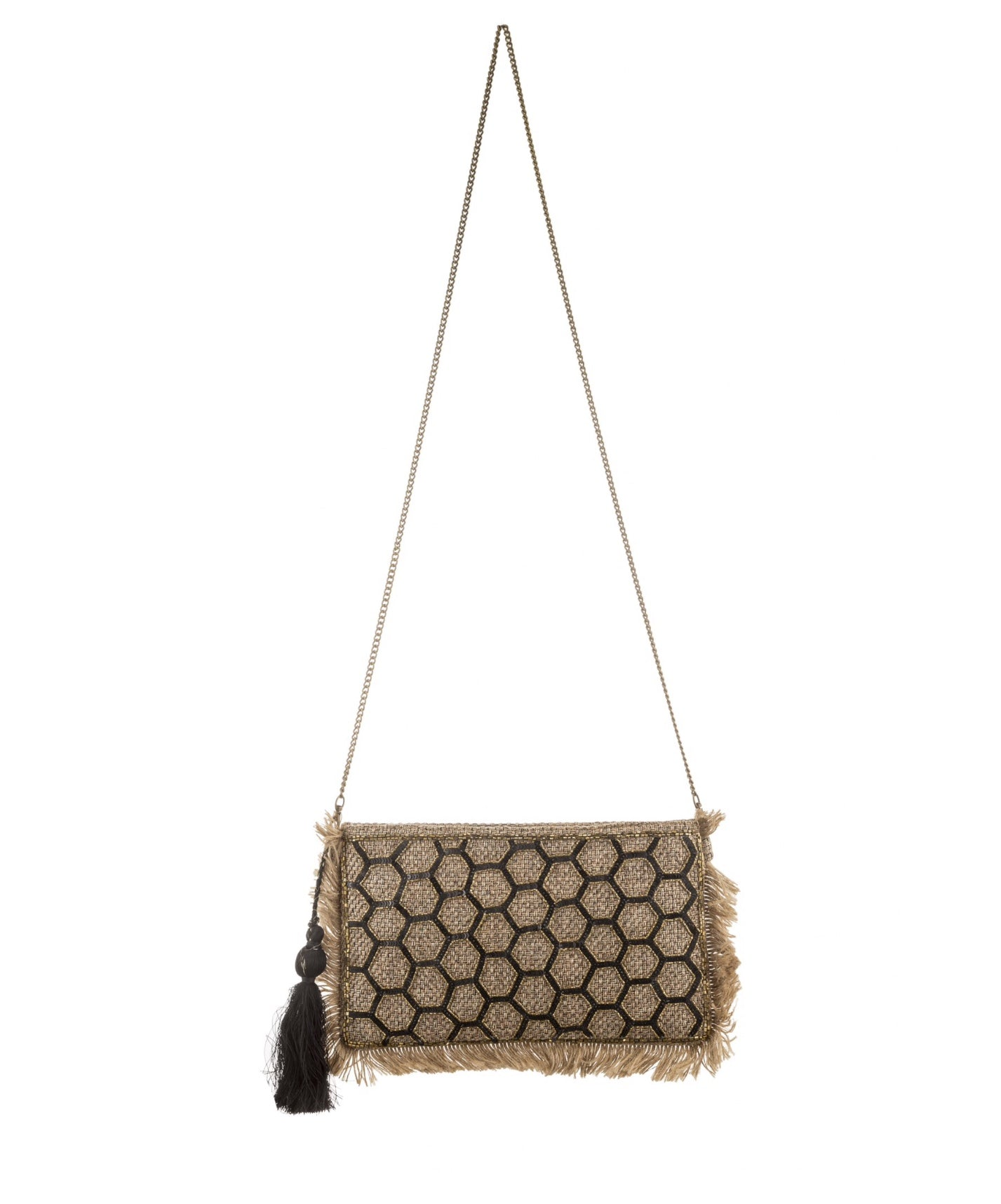 Embroidered Woven Crossbody Bag