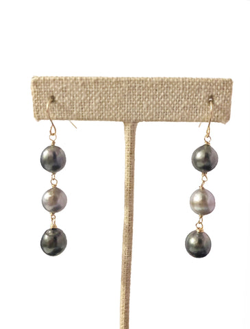 Vea Triple Pearl Drop Earrings