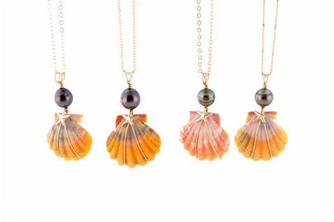 Beachcomber Design Sunrise Shell and Tahitian Pearl Necklace
