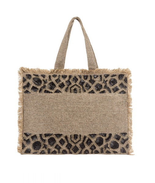 Embroidered Woven Tote Bag