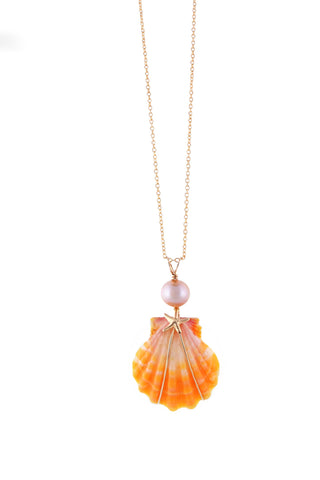 Beachcomber Design Sunrise Shell and Edison Pearl Necklace