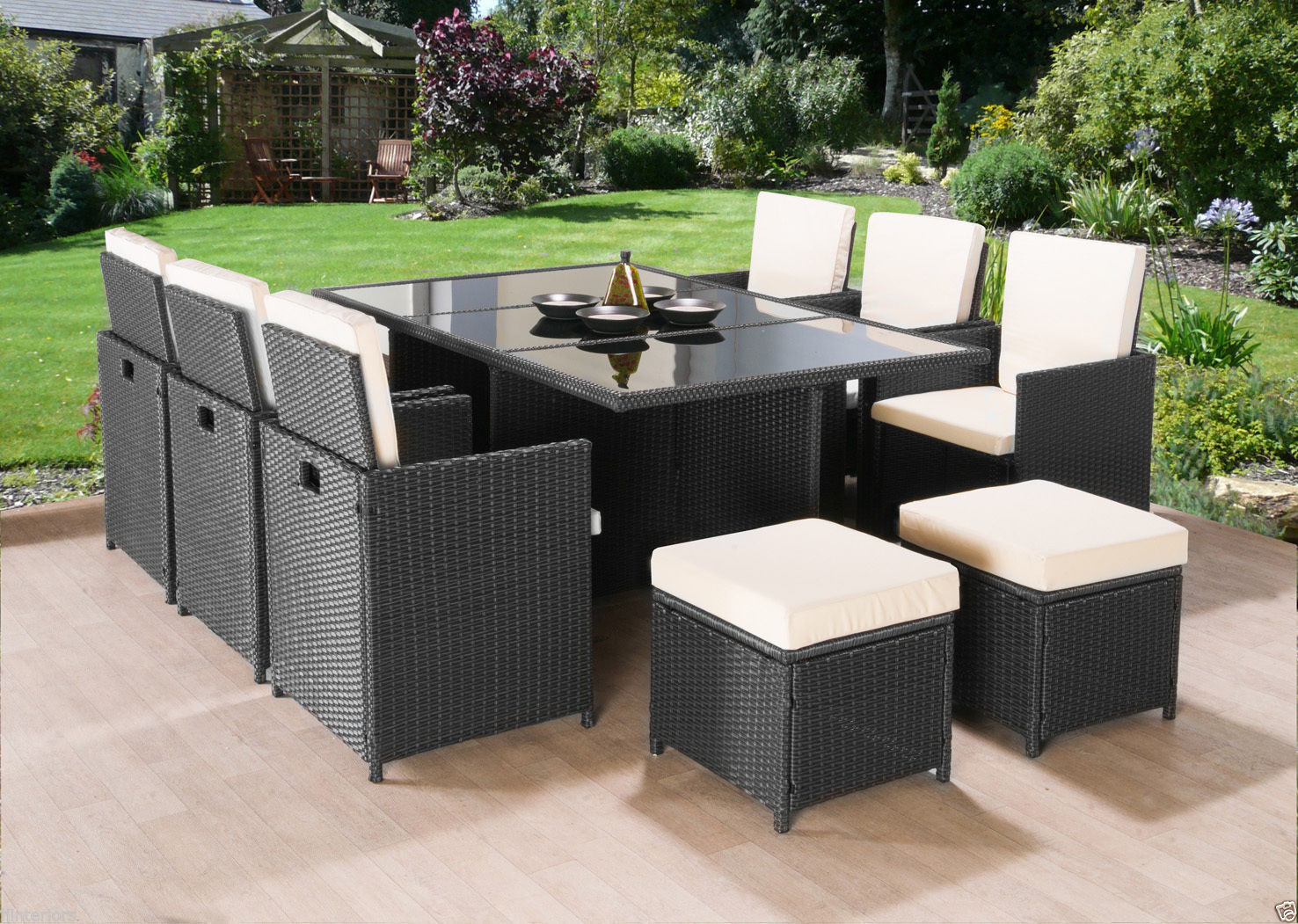 CUBE RATTAN GARDEN FURNITURE SET CHAIRS SOFA TABLE OUTDOOR PATIO WICKER 10 SEATS