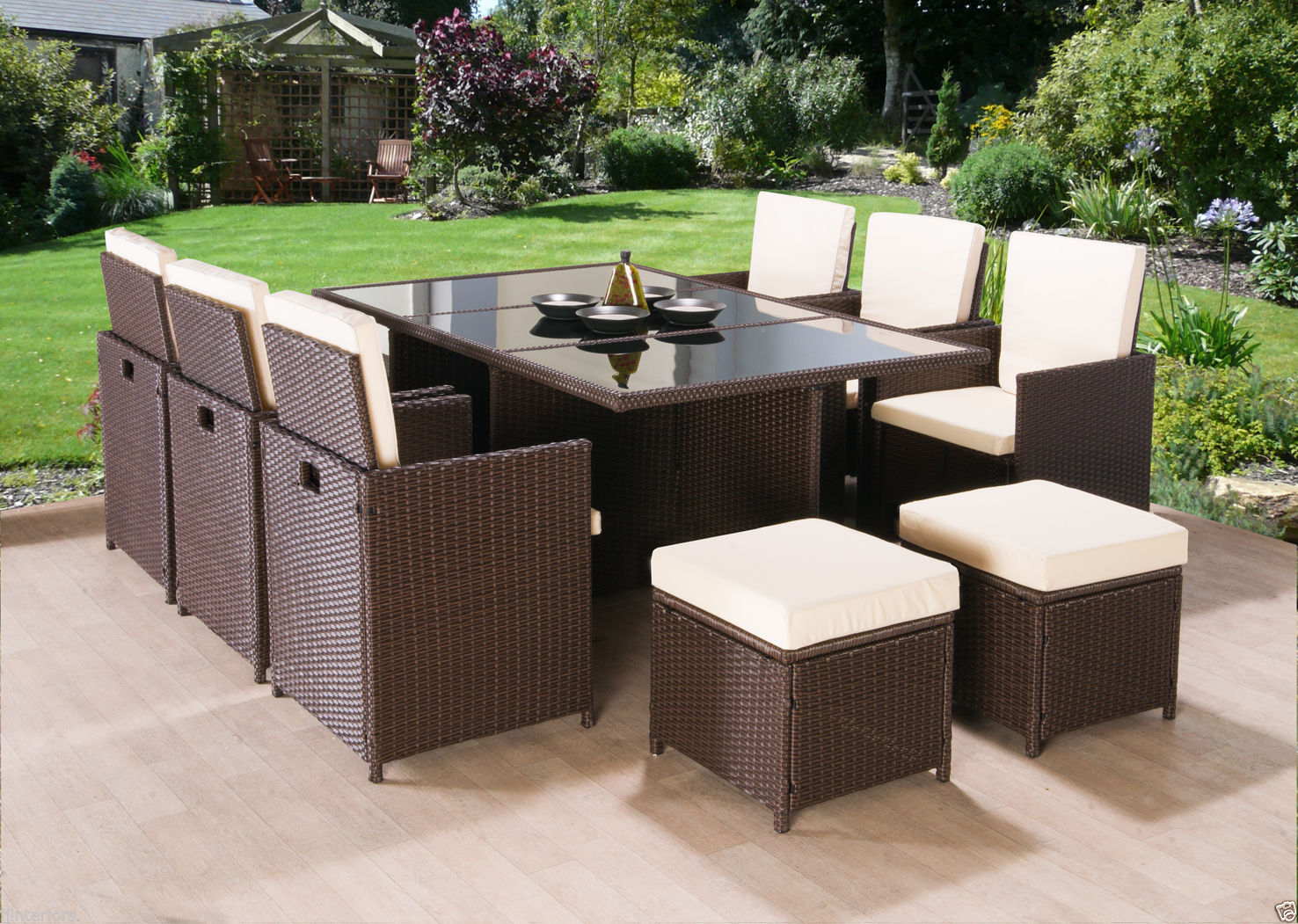 Cube Rattan Garden Furniture Set Chairs Sofa Table Outdoor Patio Wicke Furnico Living