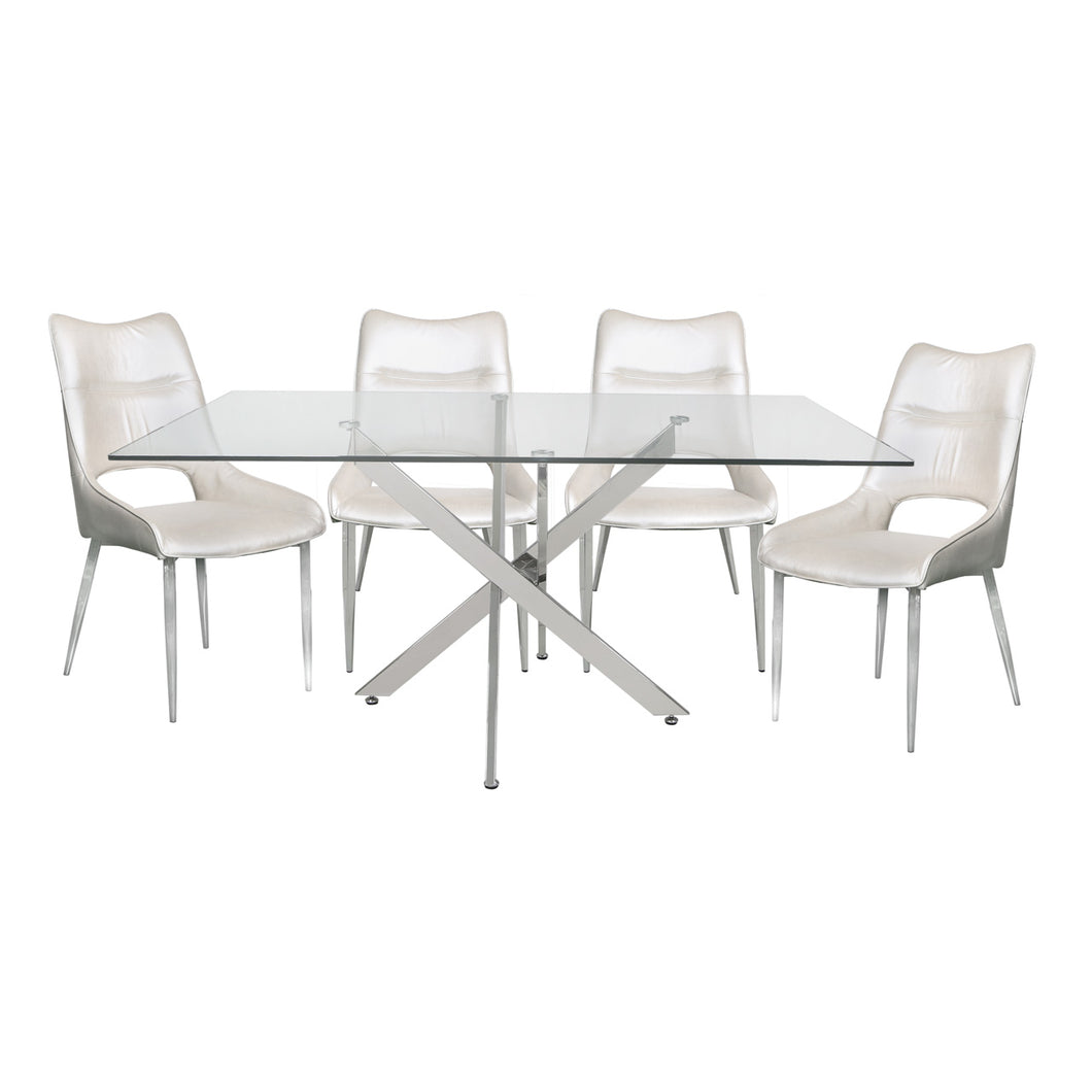 Zara Rectangle Dining Set with 4 White Faux Leather Chairs