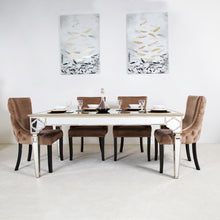 Casablanca Dining Set With 4 Tufted Back Champagne Chairs