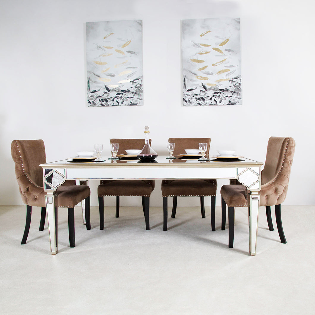 Casablanca Dining Set With 4 Champagne Chairs