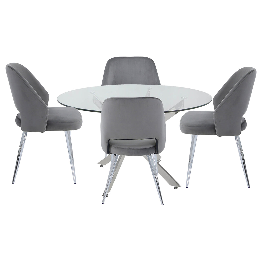 Alicia Round Dining Set with 4 Grey Velvet Chairs